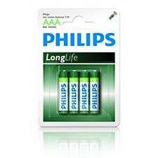 PHILIPS, Longlife Baterie, AAA, 4 kusy